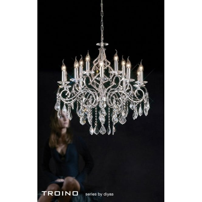 Diyas Torino XL 15 Light Polished Chrome Chandelier with Crystal Pendants