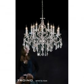 Torino XL 15 Light Polished Chrome Chandelier with Crystal Pendants