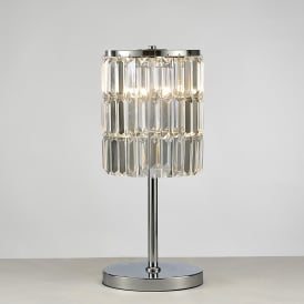 Torre 3 Light Table Lamp With Polished Chrome Finish And Crystal Rods