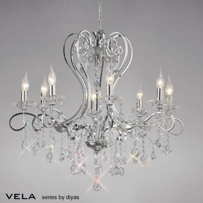 Diyas vela large 8 light chandelier in polished chrome with asfour vela large 8 light chandelier in polished chrome with asfour crystal aloadofball Choice Image
