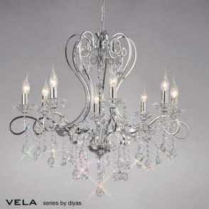 Vela Large 8 Light Chandelier in Polished Chrome with Asfour Crystal
