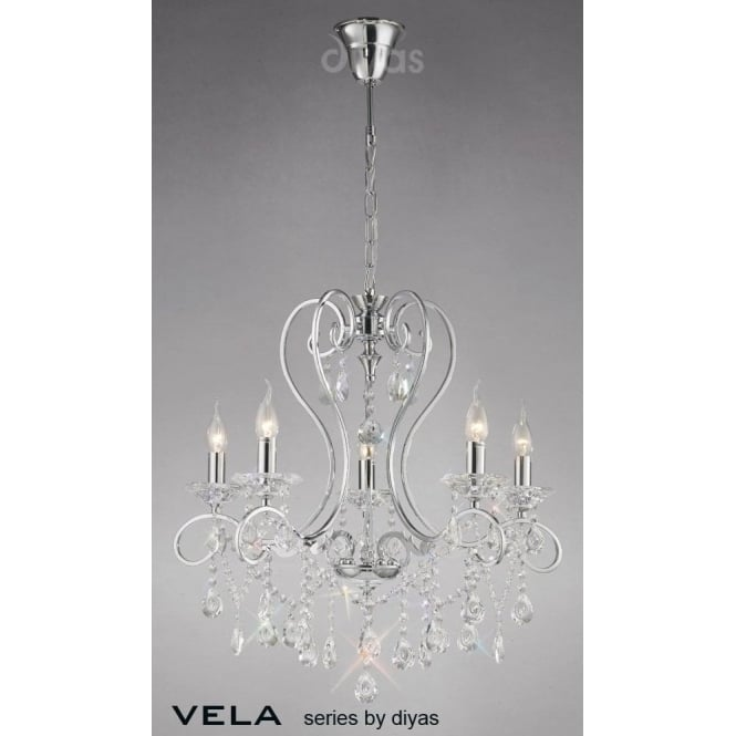 Diyas Vela Medium 5 Light Chandelier in Polished Chrome with Asfour Crystal
