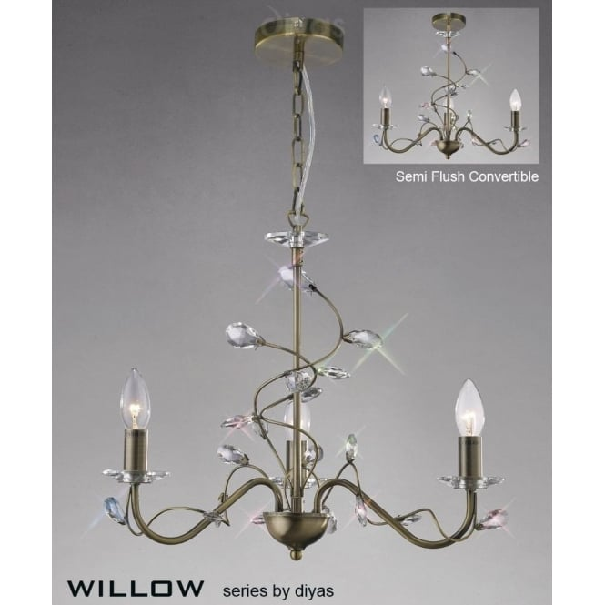 Diyas willow 3 light antique brass chandelier with crystal willow 3 light antique brass chandelier with crystal decoration aloadofball Image collections