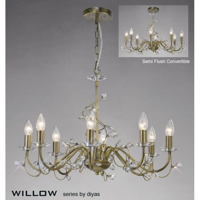 Diyas willow large 8 light antique brass chandelier with crystal willow large 8 light antique brass chandelier with crystal decoration mozeypictures Images