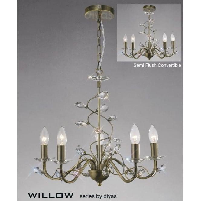 Willow Medium 5 Light Antique Brass Chandelier with Crystal Decoration - Diyas Willow Medium 5 Light Antique Brass Chandelier With Crystal