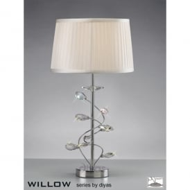 Willow Single Light Polished Chrome Table Lamp with Crystal Detail Complete with White Shade