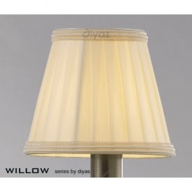 Willow Small Candle Clip Shade with Pleated Cream Fabric