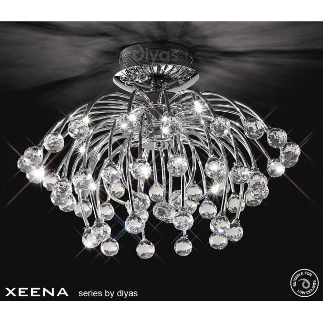 Diyas Xeena 10 Light Semi-Flush Ceiling Fixture in Polished Chrome