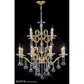 Zinta 12 Light XL French Gold Chandelier with Asfour Crystal Decoration