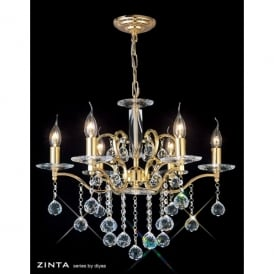 Zinta 6 Light Medium French Gold Chandelier with Asfour Crystal Decoration