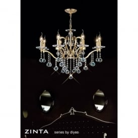Zinta 8 Light Large French Gold Chandelier with Asfour Crystal Decoration