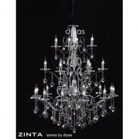 Zinta Grand 22 Light Crystal and Polished Chrome Chandelier