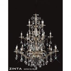 Zinta Grand 22 Light French Gold Chandelier with Asfour Crystal Decoration