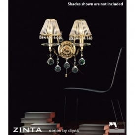 Zinta Switched 2 Light French Gold Wall Fitting with Crystal Detail