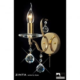 Zinta Switched Single Light French Gold Wall Fitting with Crystal Detail