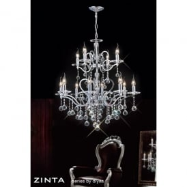 Zinta XL 12 Light Crystal and Polished Chrome Chandelier
