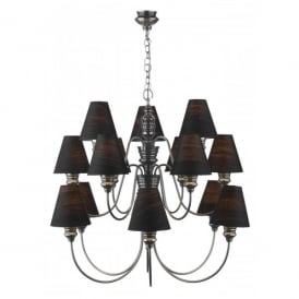 Doreen Large 15 Light Chandelier in Pewter with Black Silk Shades