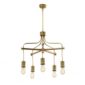 Douille 5 Light Ceiling Chandelier in Aged Brass Finish