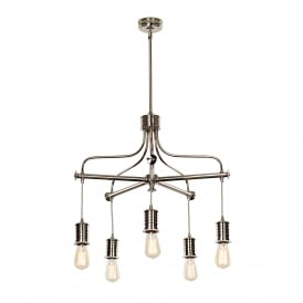 Douille 5 Light Ceiling Chandelier in Polished Nickel Finish