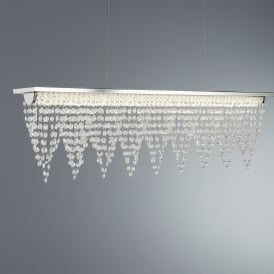 Drape LED Ceiling Bar Pendant In Polished Chrome Finish With Crystal Waterfall Dressing