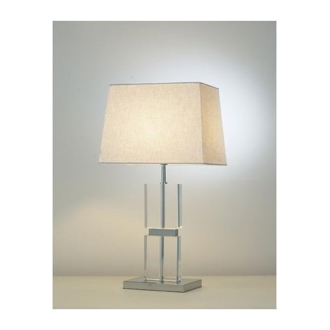 Dar Lighting Dream Single Light Table Lamp in Polished Chrome And Glass Finish With Pale Cream Shade