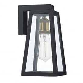 Duval Single Light Outdoor Wall Fitting In Matt Black Finish With Copper Lampholder