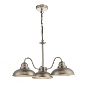 Dynamo 3 Light Ceiling Pendant in Antique Chrome Finish