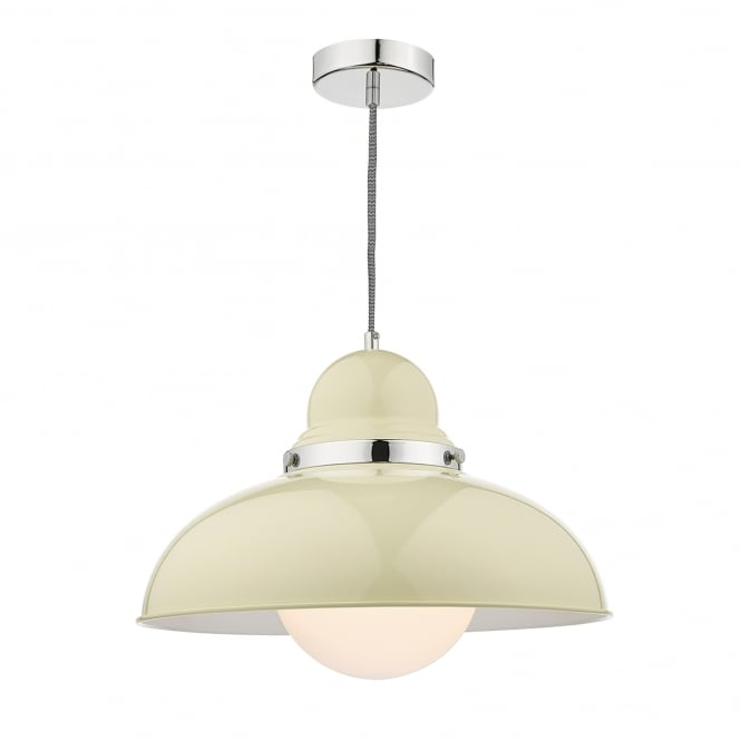Dar Lighting Dynamo Single Light Large Ceiling Fitting in Cream And Polished Chrome Finish
