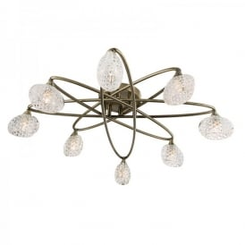 Eastwood 8 Light Semi Flush Ceiling Fitting In Antique Brass Finish