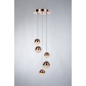Eclipse 5 LED Dimmable Spiral Ceiling Pendant Fitting in Copper Finish