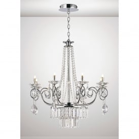 Eden 8 Light Ceiling Chandelier Pendant In Polished Chrome And Crystal Finish