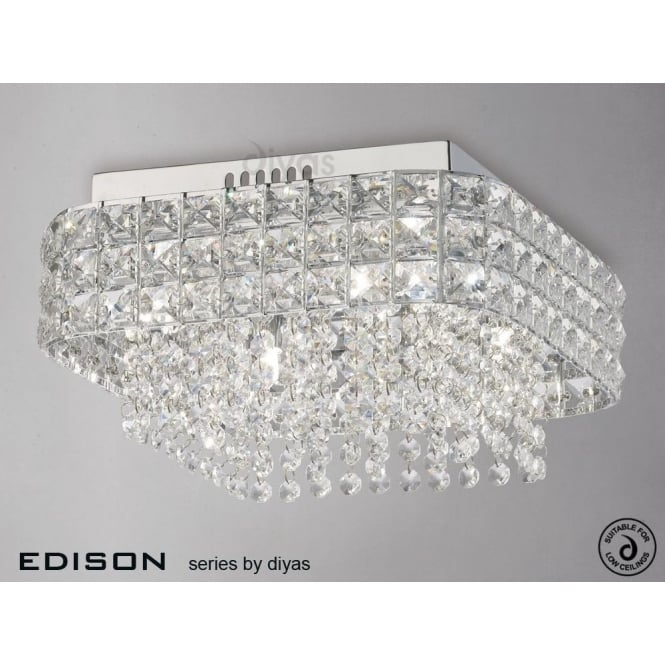 Diyas edison square 4 light ceiling fitting in polished chrome and edison square 4 light ceiling fitting in polished chrome and crystal mozeypictures Image collections
