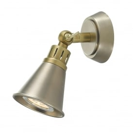 Edo Single Light Wall Fitting in Antique Brass and Antique Chrome Finish