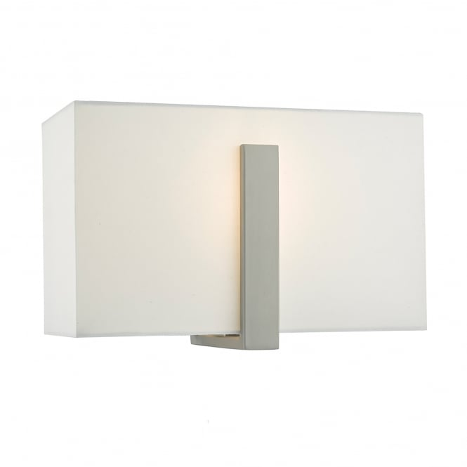 Dar Lighting Eduardo Single Light Wall Fitting in Antique Nickel Finish Complete with Ivory Cotton Shade
