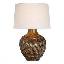 Edvard Single Light Table Lamp in Bronze Finish Complete with Natural Linen Shade