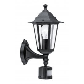 22469 'Laterna 4' Outdoor Wall Fitting Post In Black Finish With PIR Sensor