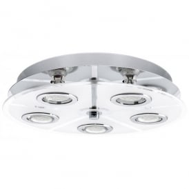 30933 Cabo 5 Light LED Flush Ceiling Fitting In White Glass And Polished Chrome Finish
