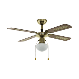 35039 Tiggano Single Light 4 Blade Metal Ceiling Fan Light In Aged Brass Finish