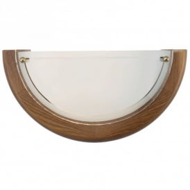 3893 UFO 1 Uplighter Style Wall Fitting in Oak Surround