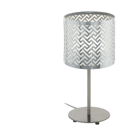 49167 'Leamington 1' Single Light Floor Lamp in Satin Nickel and Chrome Finish