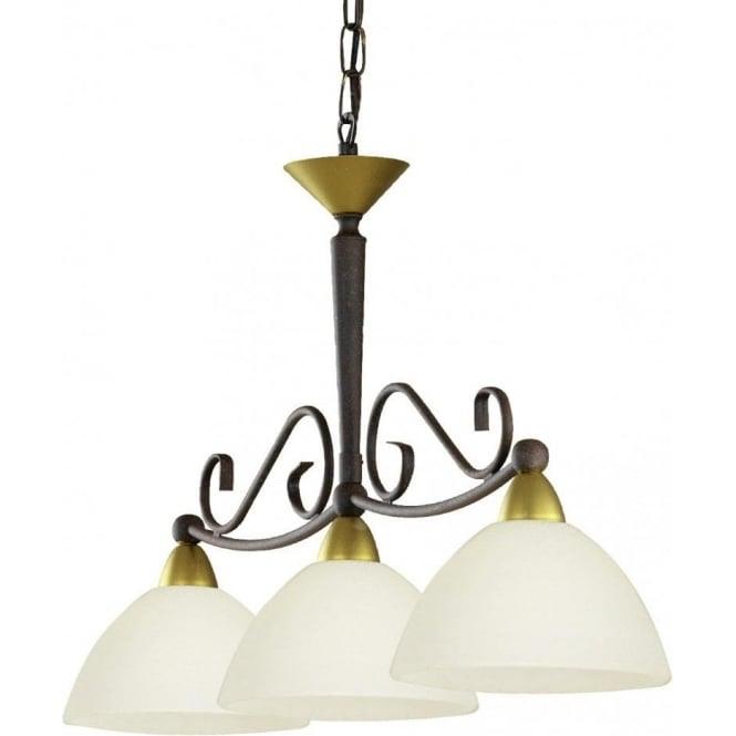 Soho Bar Pendant With 3 Opal White Glass Lights Supended: Eglo Lighting 85445 Medici 3 Light Ceiling Pendant In