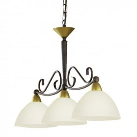 85445 Medici 3 Light Ceiling Pendant In Antique Brown With Limed Glass White Shades