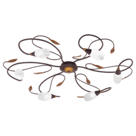 90697 'Gerbera 1' Semi Flush 6 Light Ceiling Fitting In Antique Brown Finish With White Glass Shades