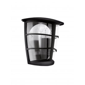 93407 Aloria Single Light Outdoor Flush Wall Fitting In Black Finish