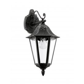 93456 Navedo Single Light Wall Fitting In Black Silver Patina Finish