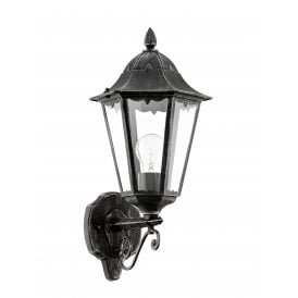 93457 Navedo Single Light Wall Fitting In Black Silver Patina Finish