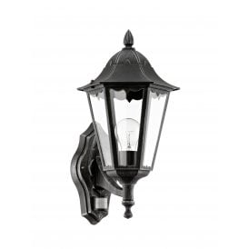 93458 Navedo Single Light Wall Fitting In Black Silver Patina Finish With PIR Sensor