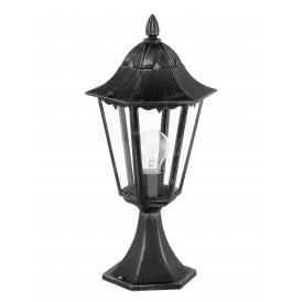 93462 Navedo Single Light Outdoor Pedestal Light In Black Silver Patina Finish