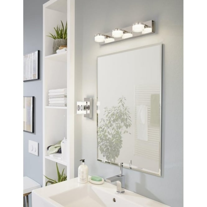 Magnificent Eglo Lighting 94653 Romendo 3 Light Led Bathroom Over Mirror Wall Fitting In Polished Chrome Finish Interior Design Ideas Ghosoteloinfo