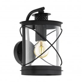 94843 Hilburn Single Light Outdoor Wall Fitting In Black Finish With Clear Acrylic Shade